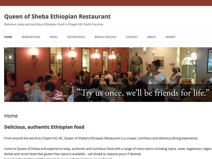 Queen of Sheba Ethiopian Restaurant Chapel Hill NC