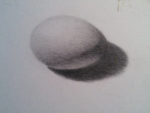 Egg drawing in graphite by Julie Dyer Holmes