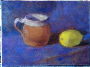 Still Life start oil on linen by Julie Dyer Holmes