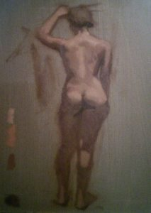 1-day figure painting in duo tone by Julie Dyer Holmes, fine artist in training at Studio Incamminati Philadelphia PA