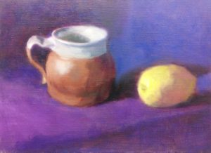 Work in progress still life showing a mug and a lemon and a different kind of stretching for Julie Dyer Holmes, fine artist in training at Studio Incamminati in Philadelphia PA