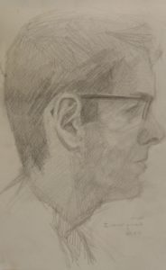 Drawing of David Holmes by Julie Dyer Holmes, fine artist