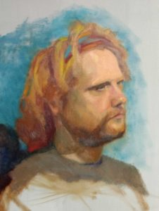2-day portrait painting of seasonal work aka modern day jesus by Julie Dyer Holmes, Fine Artist