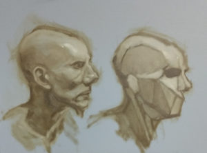 Planar study of Joe with fabulous greater alar cartilage on right and portrait study of Joe on the left by Julie Dyer Holmes, Fine Artist and Student at Studio Incamminati in Philadelphia PA