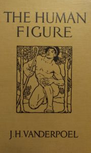 The cover of the book entitled the Human Figure by John H Vanderpoel on display at the Vanderpoel Museum in Chicago IL