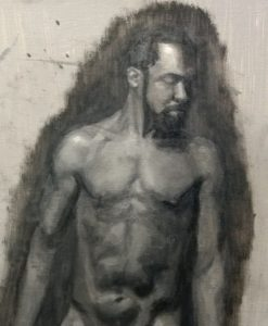 """Endurance and punctuality prevail in the 4 week effort to paint model/musician """"Brad"""" by Julie Dyer Holmes Raleigh NC based painter studying at Studio Incamminati Philadelphia PA"""
